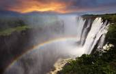 Victoria Falls with rainbow — Stock Photo