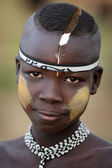 Young Mursi man , Lower Omo Valley, Ethiopia — Zdjęcie stockowe