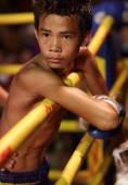 Muay lao kick boksen strijd in laos — Stockfoto