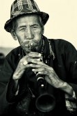 Old musician at the Ladakh Festival, Ladakh, India — Stock Photo
