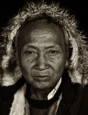 Old man of the ethnical group Palaung, Myanmar, Burma — Stock Photo