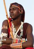 Unidentified Maasai warrior — Stock Photo