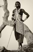 Proud Maasai warrior with traditional headdress and necklace in Loitoktok, Kenya. — Stock Photo