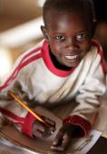 Maasai student attending a primary school — Stock Photo