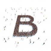 Illustration of letter with people,isolated — Stock Photo