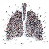 People in the form of a human lung. — Stock Photo