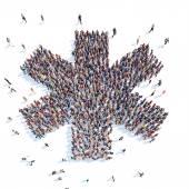 Mensen in de vorm van een abstracte symbool bedrijf. — Stockfoto