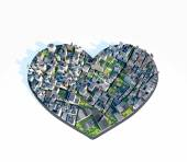 Heart city love — Stock Photo