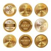 Golden labels set — Stock Vector