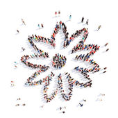 People in the shape of a flower, and ecology. — Stock Photo