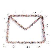 Människor i form av en skrivelse. — Stockfoto