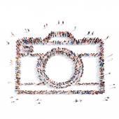Mensen in de vorm van een camera. — Stockfoto