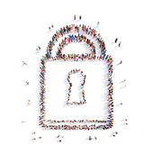 People in the shape of locks. — Stock Photo