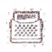 Människor i form av skrivbara maskin. — Stockfoto