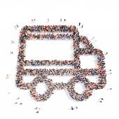 People in the shapeof a truck. — Stock Photo