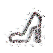 People in the shape of shoes. — Stock Photo