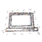 As pessoas da forma dos desenhos animados do portátil — Fotografia Stock