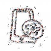 Grupo de pessoas forma smartphone — Fotografia Stock