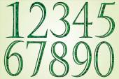 Collection of green numbers made of swirls — Wektor stockowy