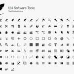 Постер, плакат: 124 Software Tools Pixel Perfect Icons