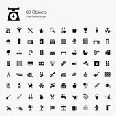 80 Objects Pixel Perfect Icons — Stock Vector