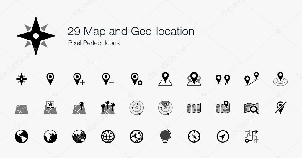 地图和地理位置像素的完美图标