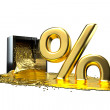 Safe and liquid gold. Gold rises percent sign. path included. — Stock Photo #67791921