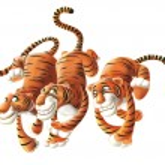 Three running tigers — Stock Photo #53156463
