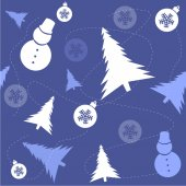 Christmas pattern of Christmas trees and snowflakes — Stock Vector