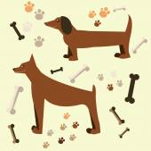 Flat design of the dog. Doberman and dachshund — Wektor stockowy