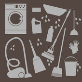 Vector set of icons . Household cleaning and laundry — Stock Vector