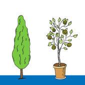 Zbiór drzew. wektor — Wektor stockowy