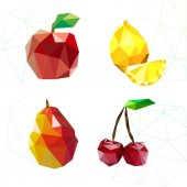 Fruit set of polygons . Apple, lemon , cherry and pear. Vector — Stock Vector