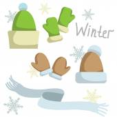 Set of winter clothing. Hat , mittens and scarf. Vector — Stock Vector