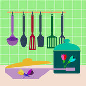 Set of kitchen utensils , pots and pans . Vector — Stock Vector
