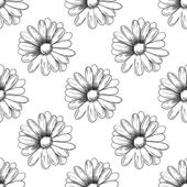 Flower pattern. Camomile drawing. Vector — Stock Vector