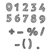 Illustration of the drawn numbers. Black-and-white numbers 1, 2, — Vecteur