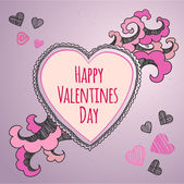 Happy Valentines Day card. Vector  — Stock Vector