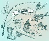 The drawn vector set: fishing. Rod, salmon, perch, bucket, fishi — Stock Vector