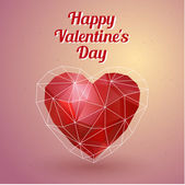 Happy Valentines Day card. Polygonal heart. Vector — Stock Vector