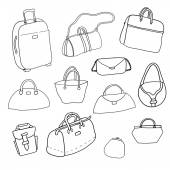 Vector sketch. Set of bags. — Stock Vector