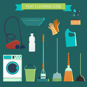Flat vector color character set. House cleaning and laundry. Vec — Stockvektor