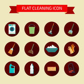 Flat vector color set of icons. House cleaning and laundry. Vect — Stock Vector
