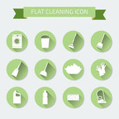 Flat vector color set of icons. House cleaning and laundry. Vect — Vecteur