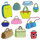 Vector color sketch. Set of bags. — Stock Vector
