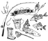 The drawn vector set: fishing. Rod, salmon, perch, bucket, fishing hooks, net, float, gumboots. Vector — Stock Vector