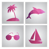 Set of cards in polygonal style. Beach, island, palm tree, boat, — Stockvector