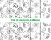 Geometrical seamless pattern. The drawn lemon. 5 black-and-white — Stock Vector