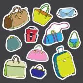 Set of stickers. Women bags. Vector — Stock Vector