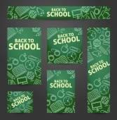 Set-Web-Banner. Zurück zur Schule. Symbole auf einer Tafel. Vec — Stockvektor